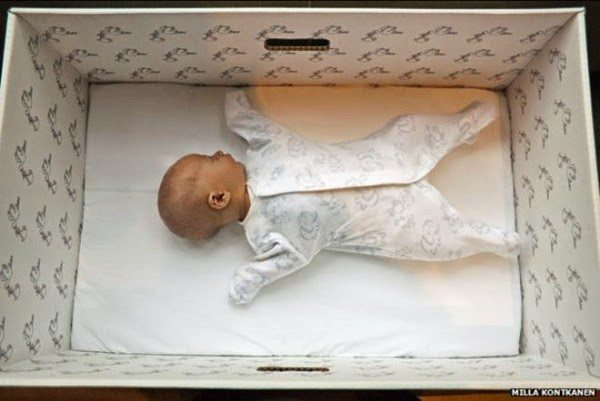 newborn in box