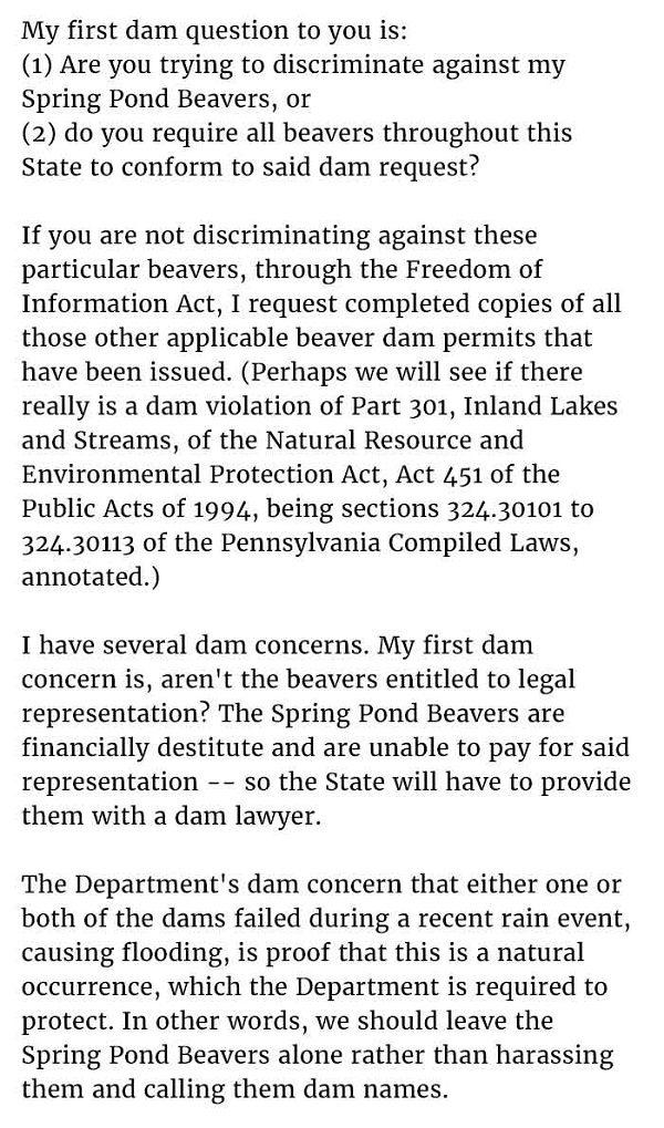 Beaver Dam Letter