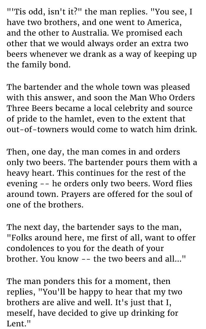 Man Who Orders Three Beers