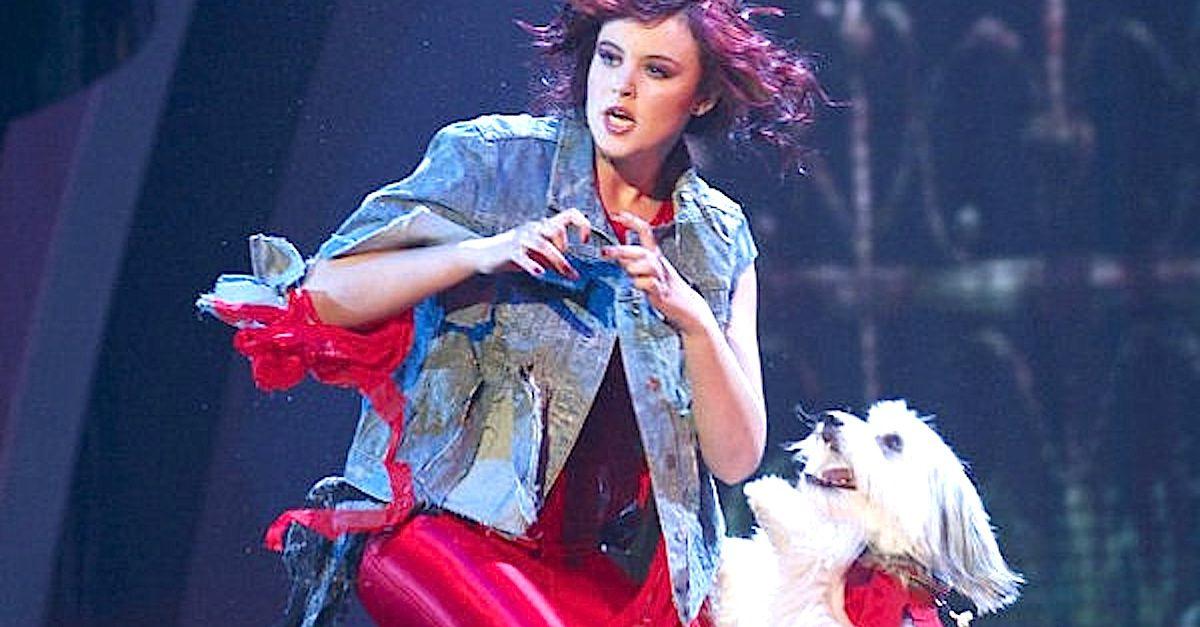 girl and dog dance