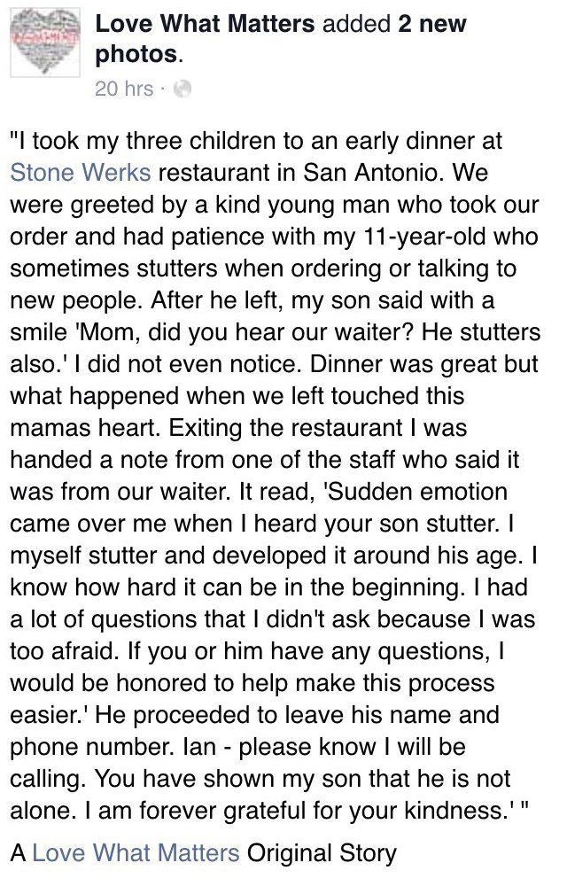 mom takes stuttering son to restaurant 1
