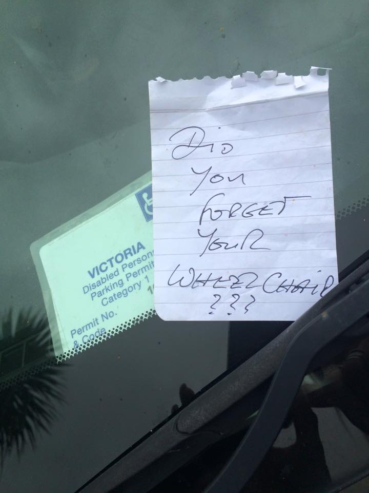 nasty note on car