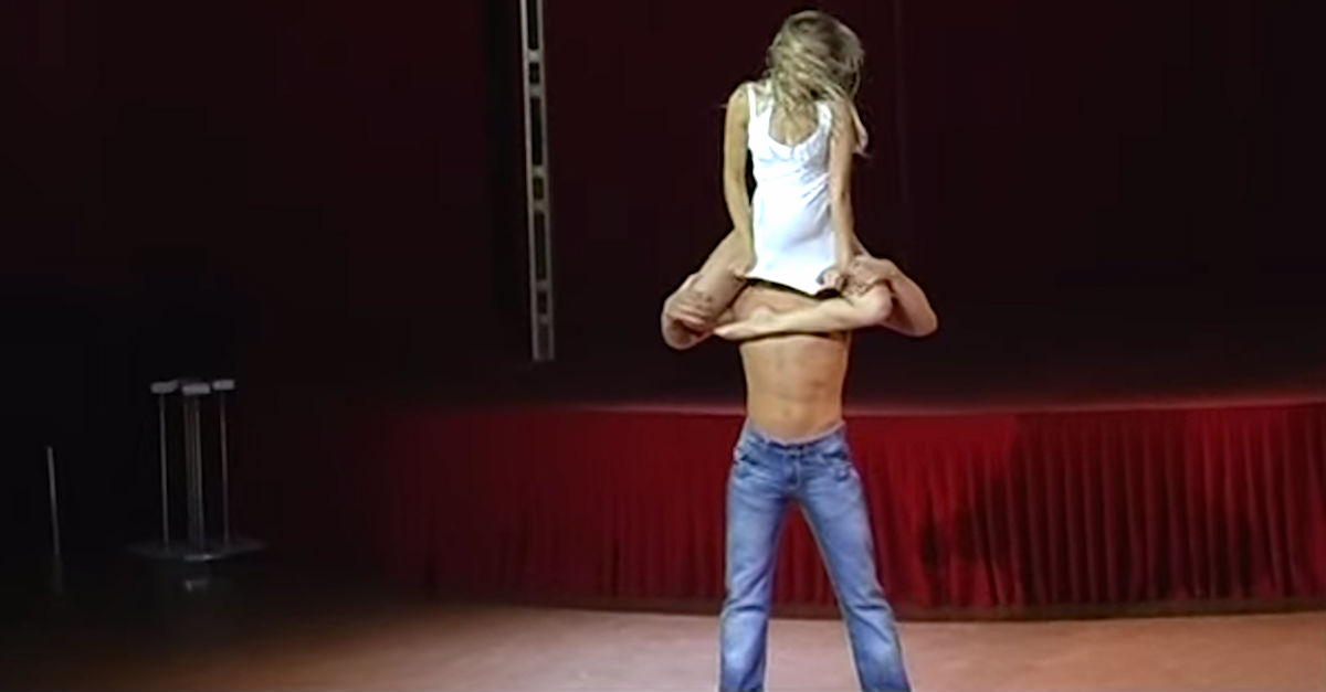 young couple dance acrobatics