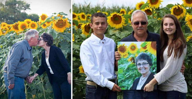man plant sunflowers 8