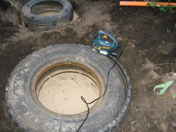 old tires reused in yard