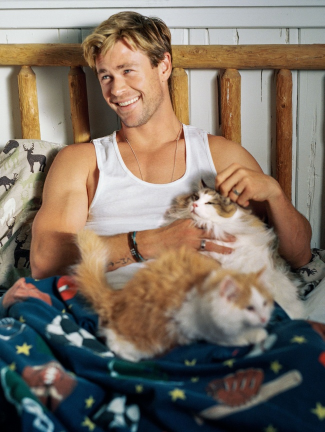 men with their kittens