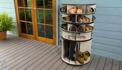 diy lazy susan shoe rack 11