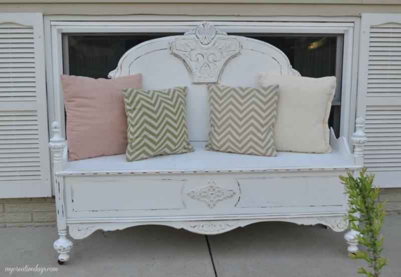 old bed frame into bench 10