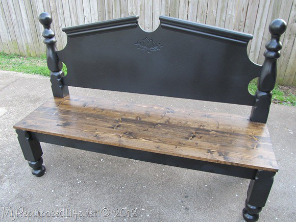 old bed frame into bench 11