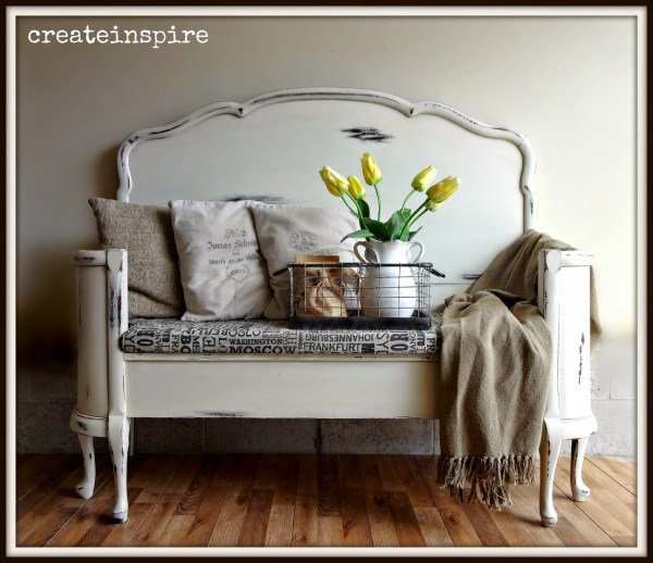 old bed frame into bench 12