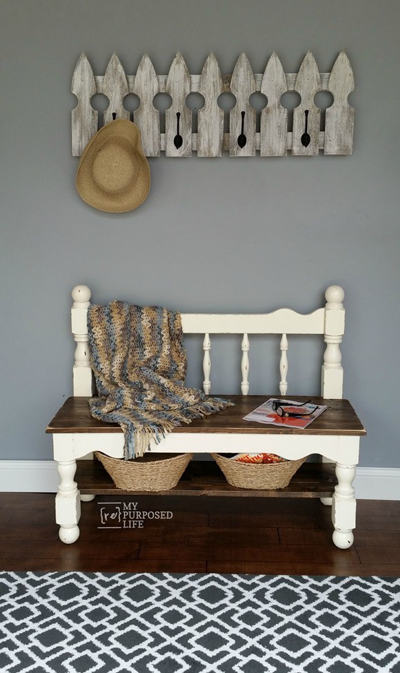 old bed frame into bench 13