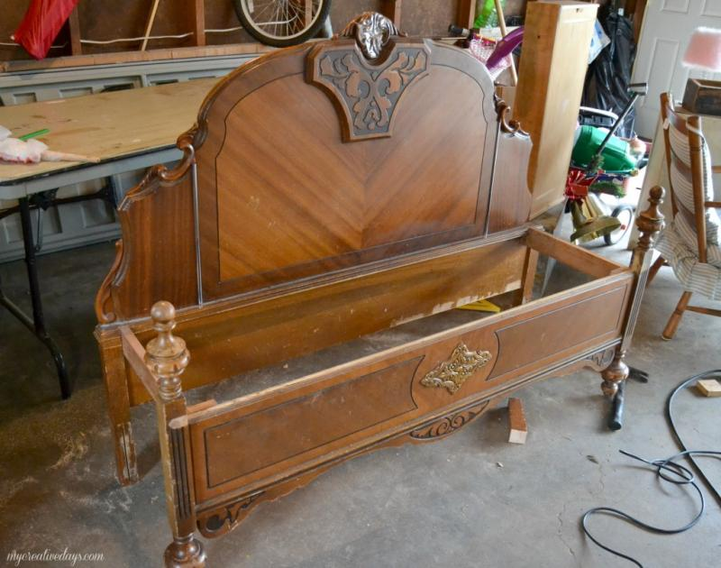 old bed frame into bench 3