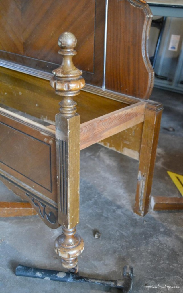 old bed frame into bench 4