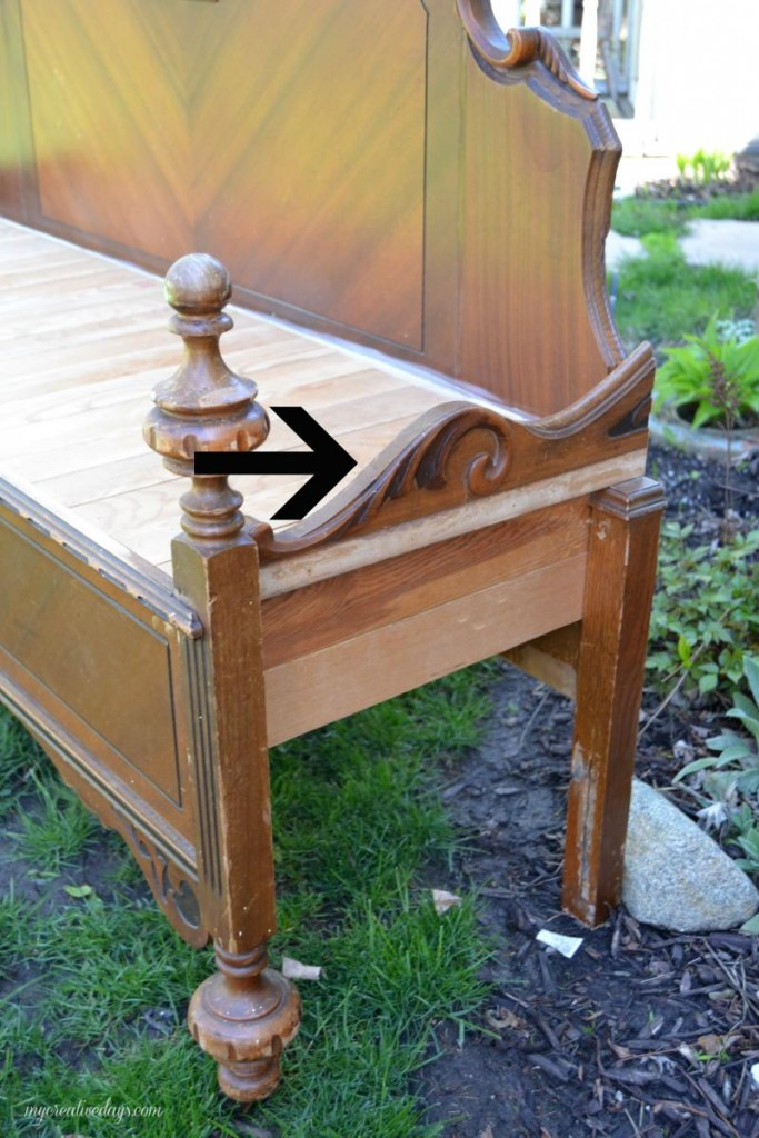 old bed frame into bench 6
