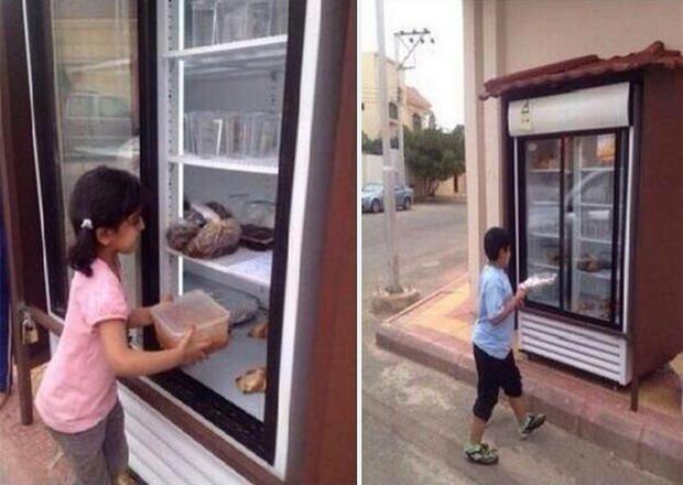 outdoor fridge feeds homeless