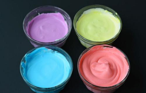 shaving cream mixed with food color 6