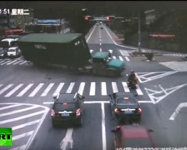 truck nearly crushed motorcyclist