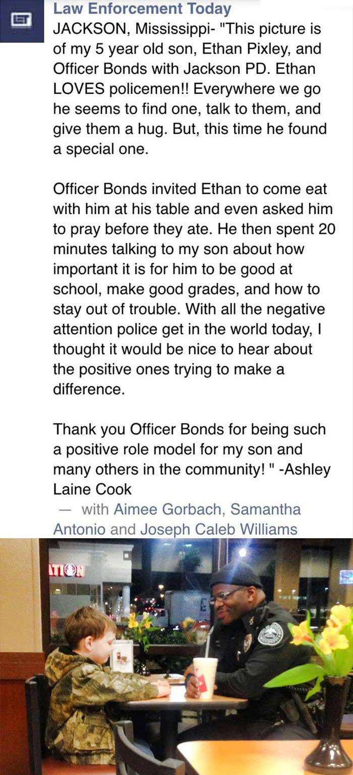 5-year-old boy and police officer