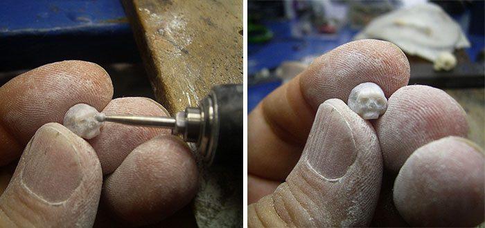 artist carves pearls into skull 2