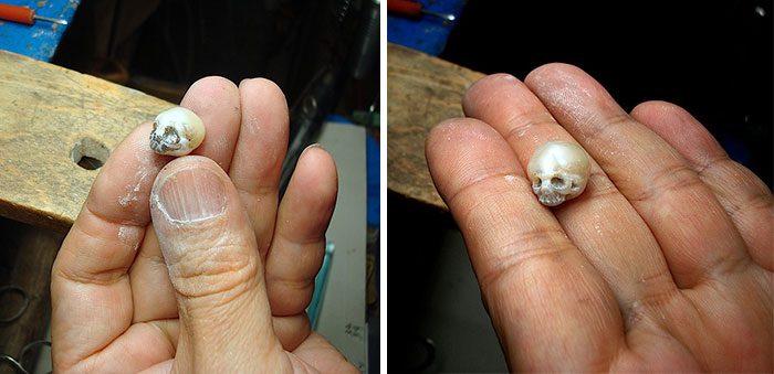 artist carves pearls into skull 9