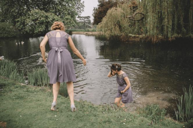 bridesmaid jump into pond 4