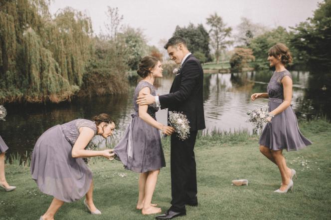 bridesmaid jump into pond 5
