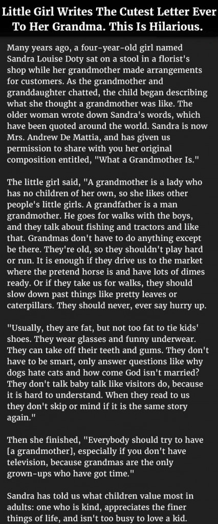 little girl's letter to grandma