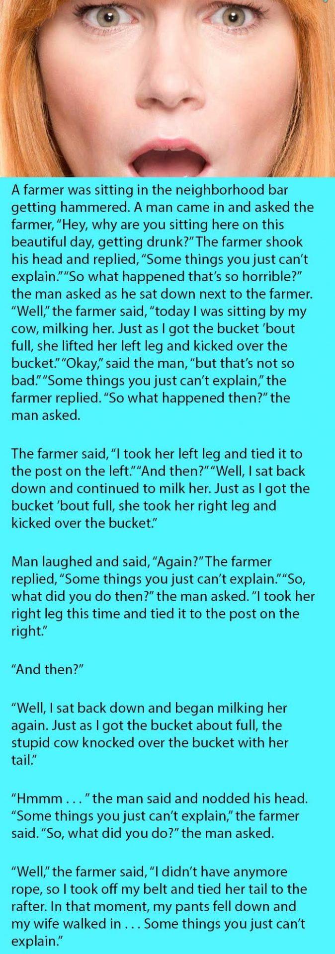farmer milking cow wife shocked