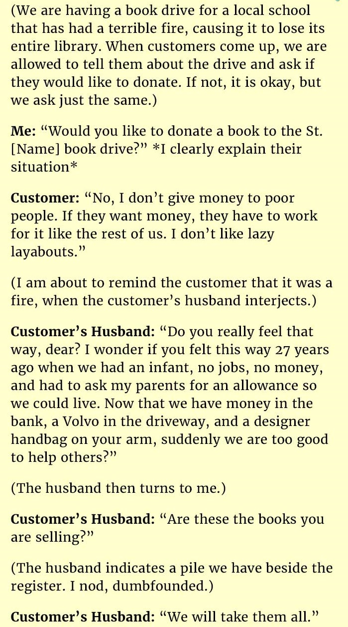 husband responds wife not helping poor