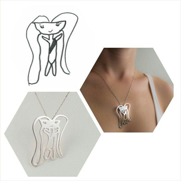 kids drawings into jewelry