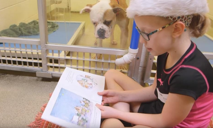 kids read to shelter dogs