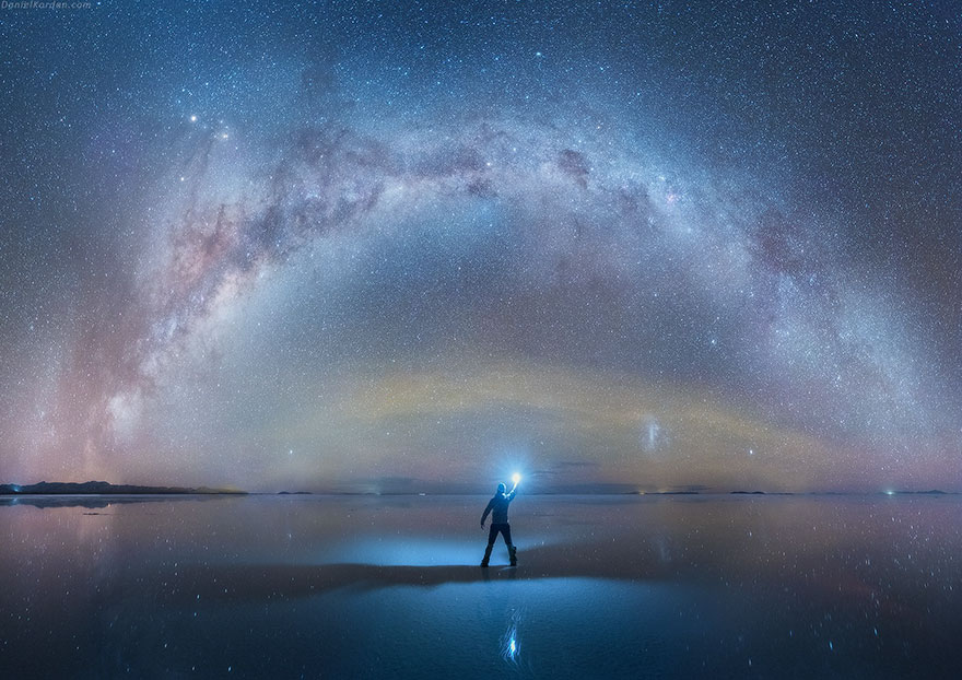 milky way reflected on salt flat