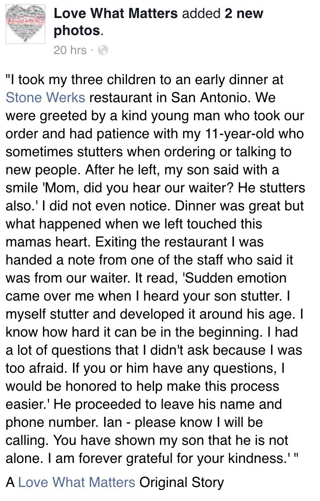 mother takes stuttering son to restaurant