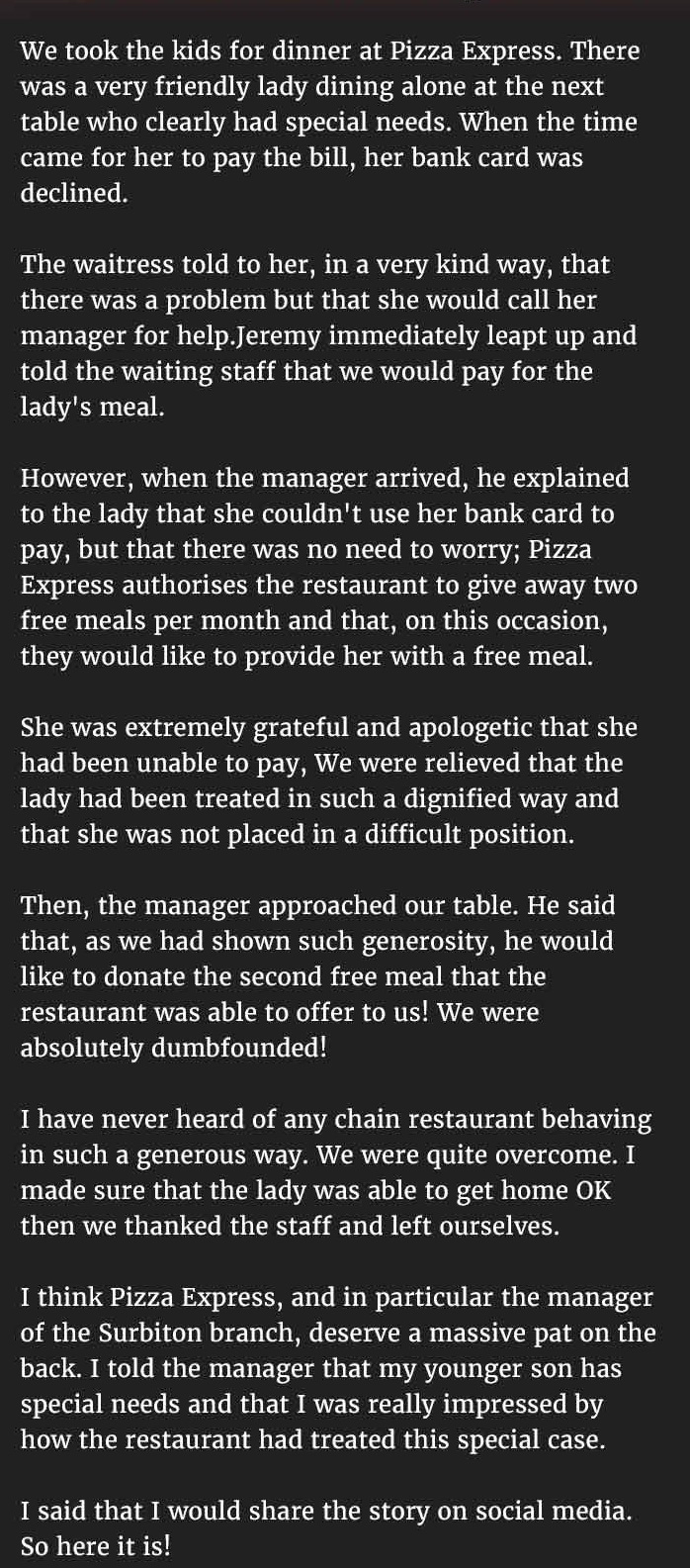 restaurant gives special needs girl free meal