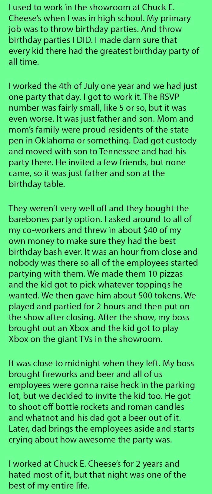 staff saves little boy birthday party