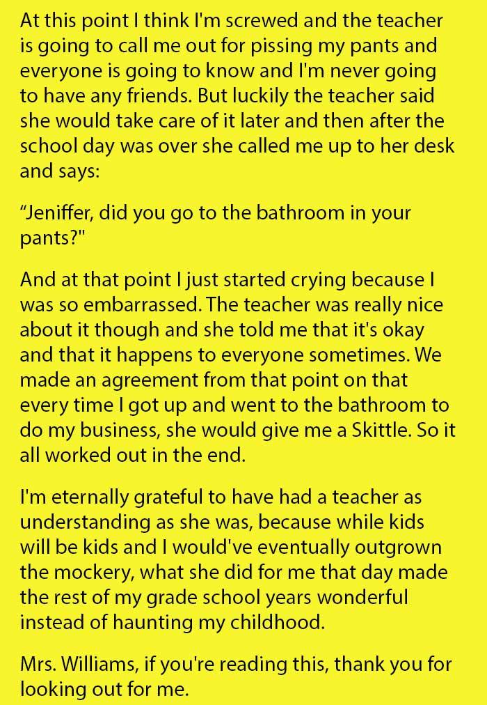 teacher responds to girl wet pants