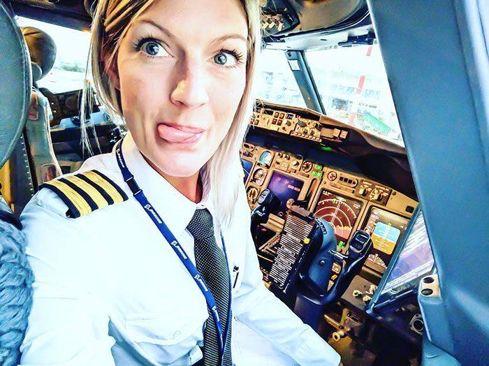 woman pilot yoga