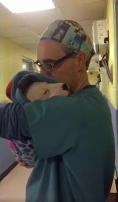 man comforts dog after surgery