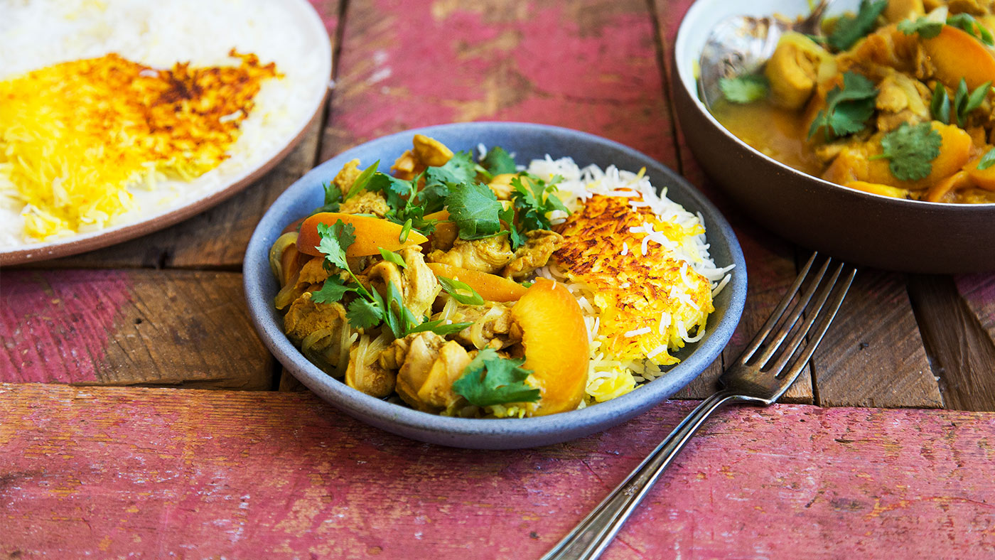 slow cooker persian peach and chicken stew