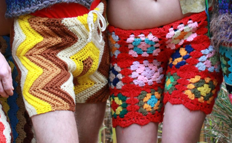 crocheted shorts vintage blankets