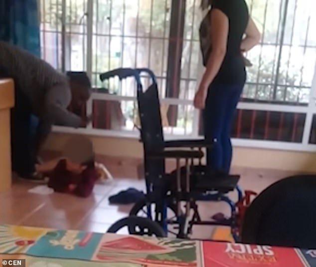 caregiver kicks disabled child