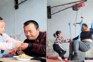 chinese girl takes care of paralyzed father