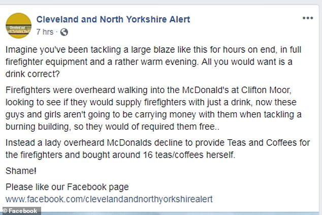 mcdonald's refuses to give firefighters free drinks