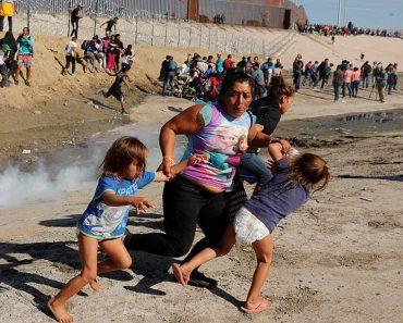 US border tear-gassing migrants