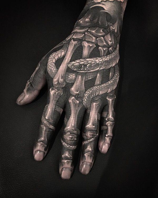 skeleton hand tattoos